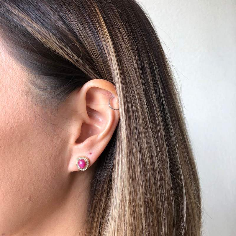 User Generated Content for Aster Lupine Pavé Studs in Gold and Moonstone