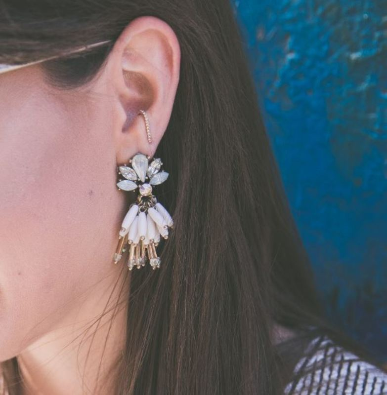 User Generated Content for Perry Street Flora Statement Earrings in Gold and Cream