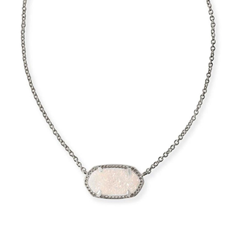 Kendra Scott Elisa Necklace in Silver and Iridescent Druzy