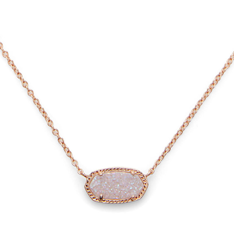Kendra Scott Elisa Necklace in Rose Gold Iridescent Drusy