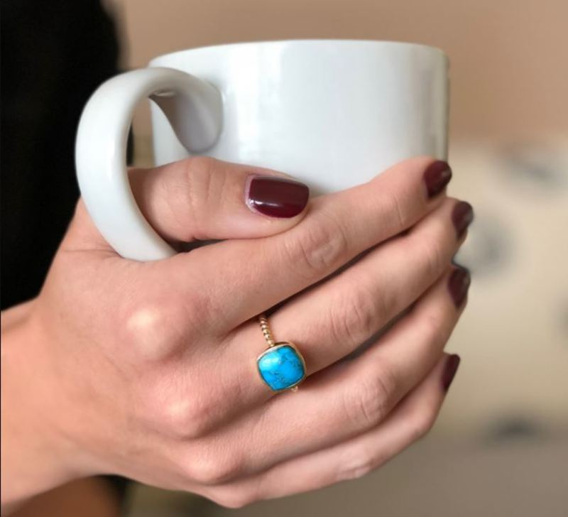 User Generated Content for Aster Zinnia Ring in Copper Turquoise