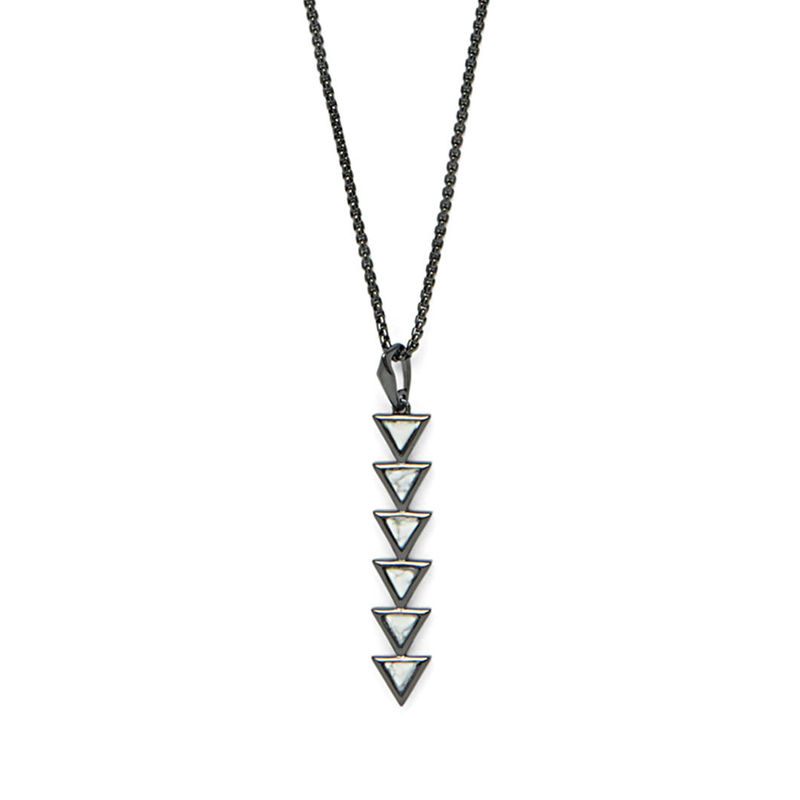 SLATE Cruz Adjustable Pendant in Gunmetal & Howlite
