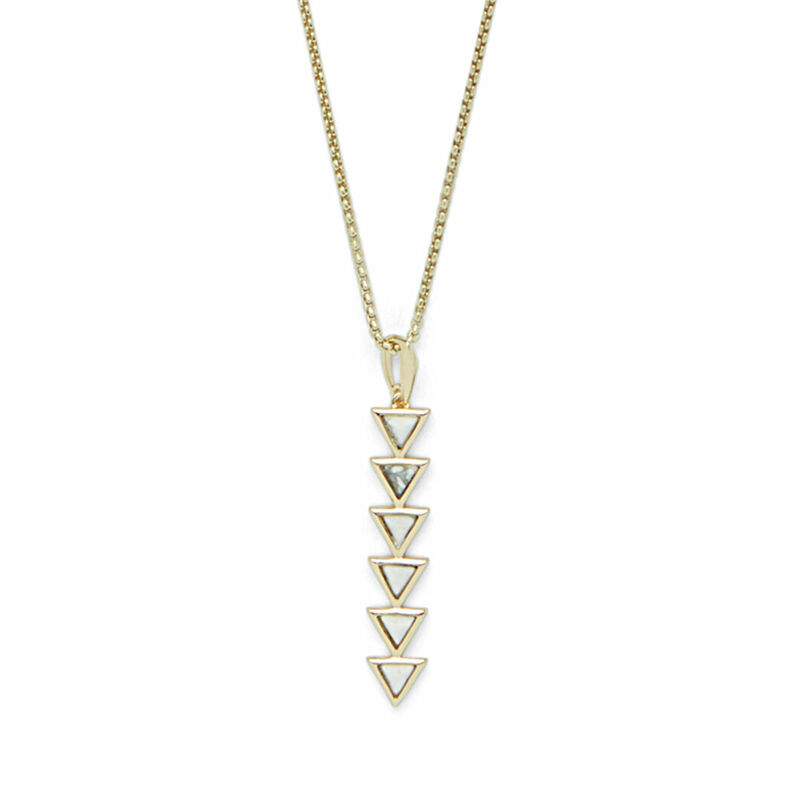 SLATE Cruz Adjustable Pendant in Gold & Howlite