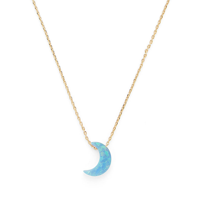 Sophie Harper Opal Moon Necklace in Gold