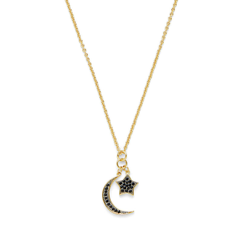 Sophie Harper Pave Moon and Star Charm Necklace in Gold and Jet