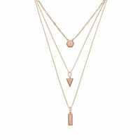 Model Content for Aster Ren Layered Necklace in Rose Gold & Rose Druzy