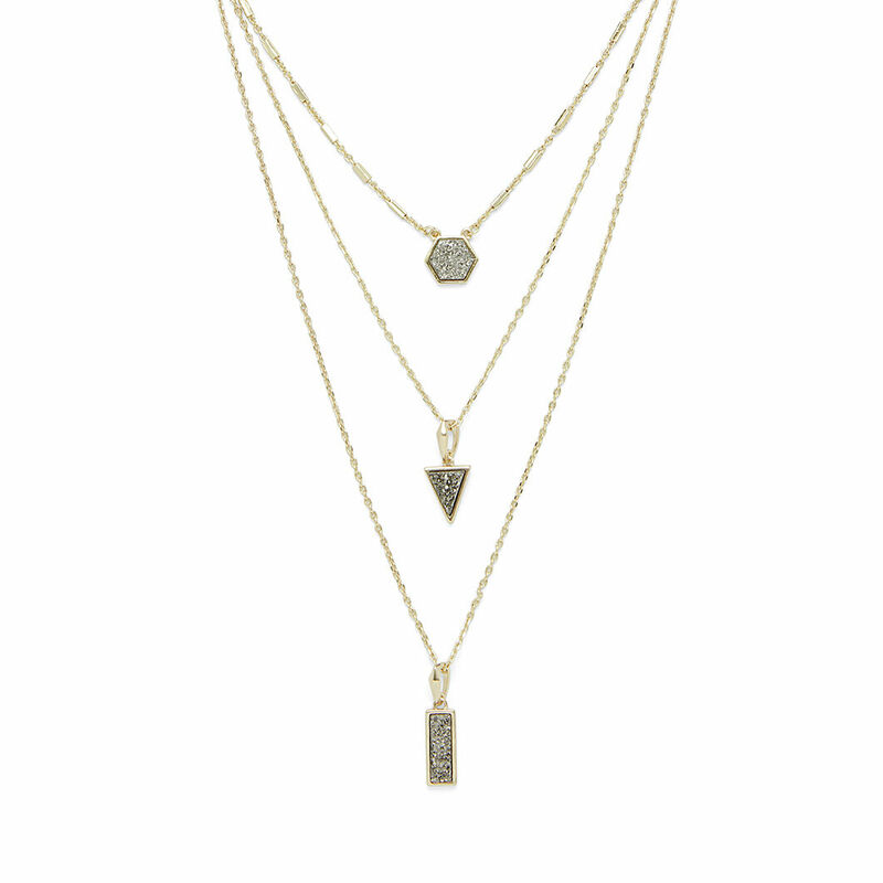 Aster Ren Layered Necklace in Gold & Platinum Druzy