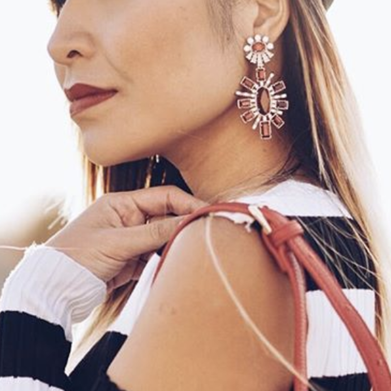 User Generated Content for Kendra Scott Glenda Statement Earrings in Gold and Berry Glass