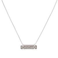 Model Content for Kendra Scott Leanor Bar Pendant Necklace In Platinum Drusy