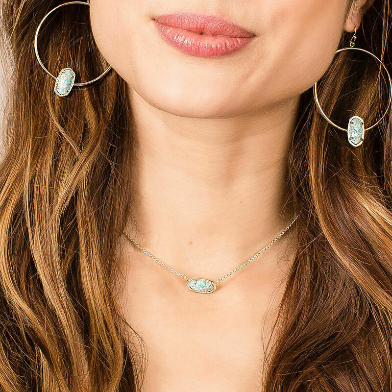 Elisa Silver Necklace In Iridescent Drusy By Kendra Scott