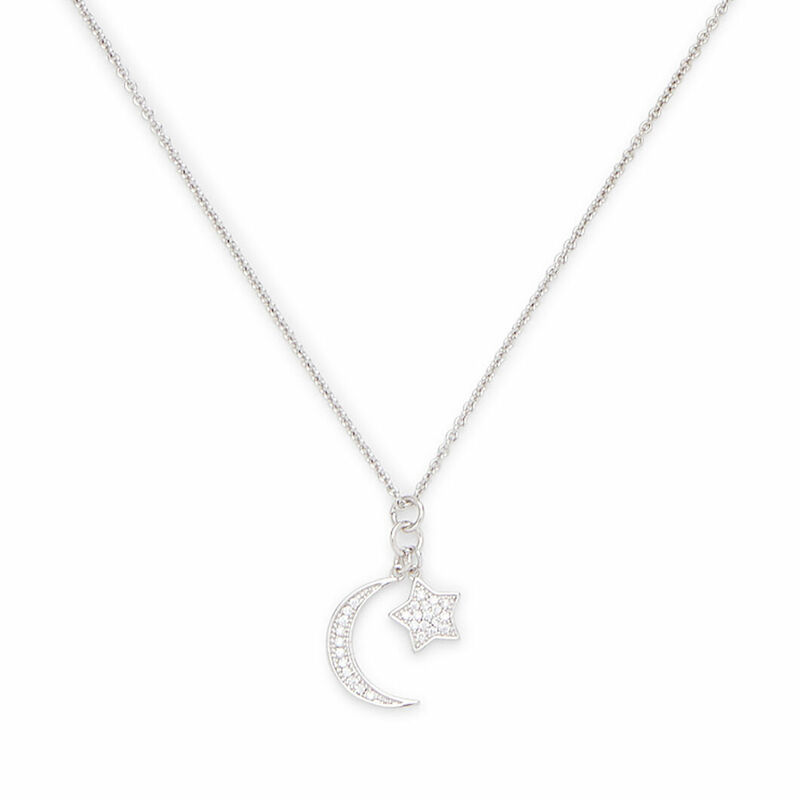 Sophie Harper Pave Moon and Star Charm Necklace in Silver and Crystal