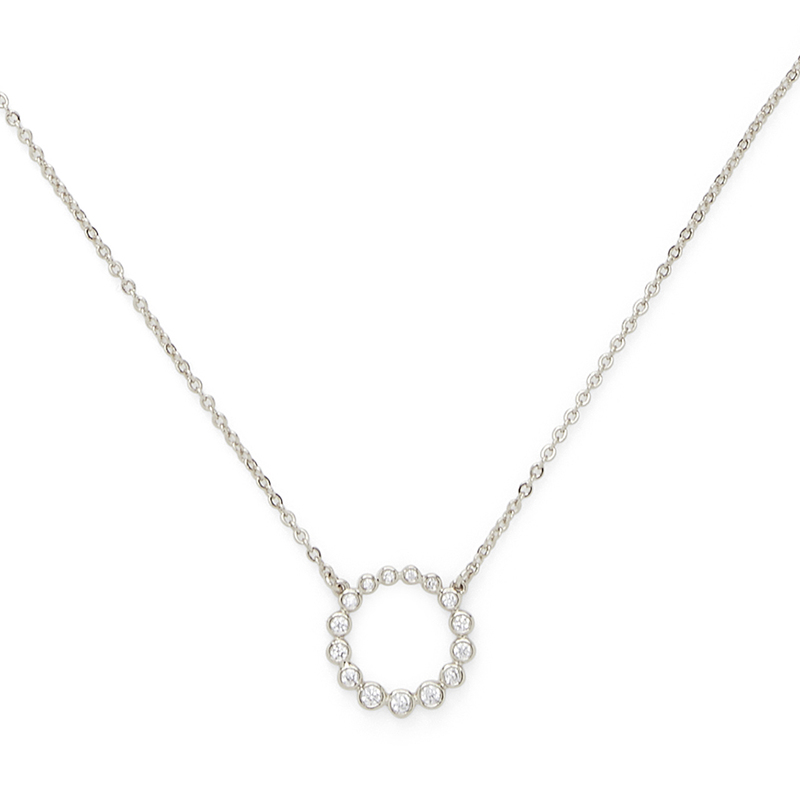 Sophie Harper Crystal Open Circle Pendant in Silver