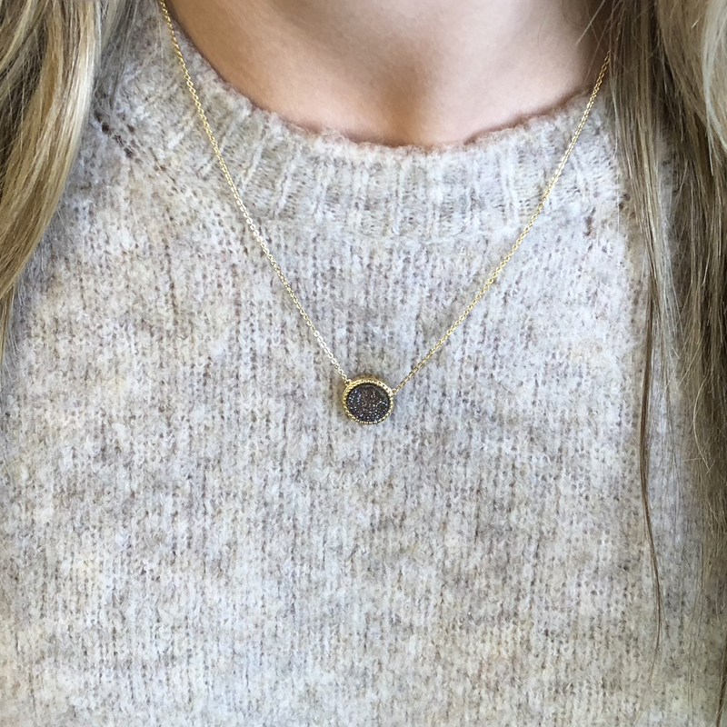 User Generated Content for Ava Rose Cheyenne Necklace in Gold and Iridescent Druzy
