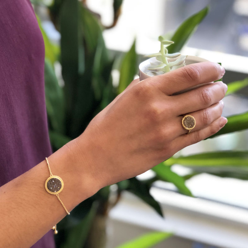 User Generated Content for Ava Rose Cheyenne Ring in Gold and Sepia Druzy