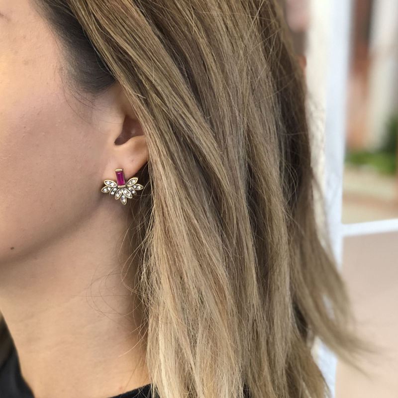 User Generated Content for Perry Street Layla Statement Studs in Fuchsia