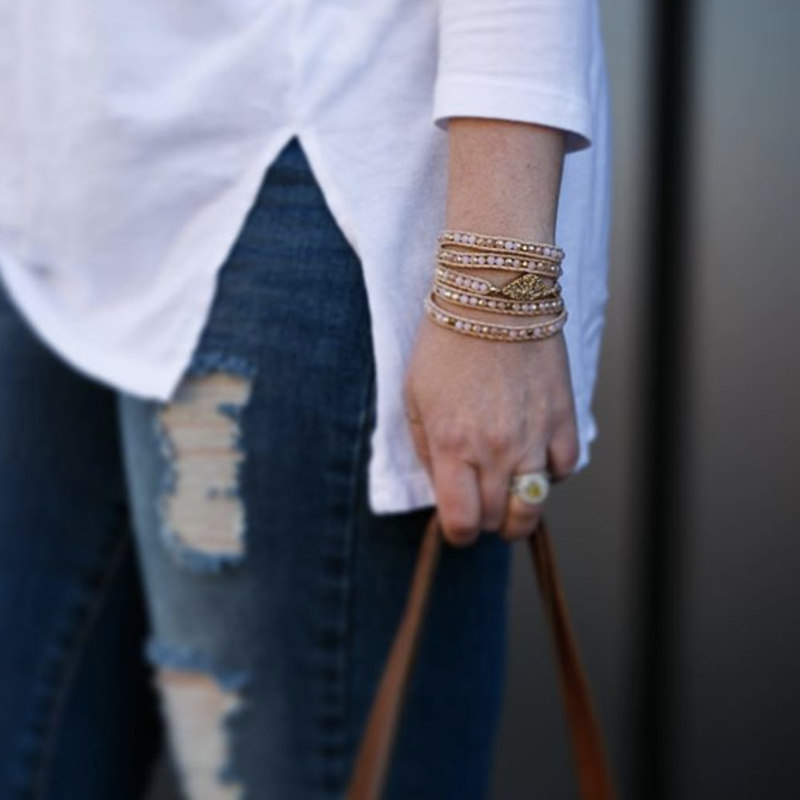 User Generated Content for Nakamol Pink wrap with gold druzy