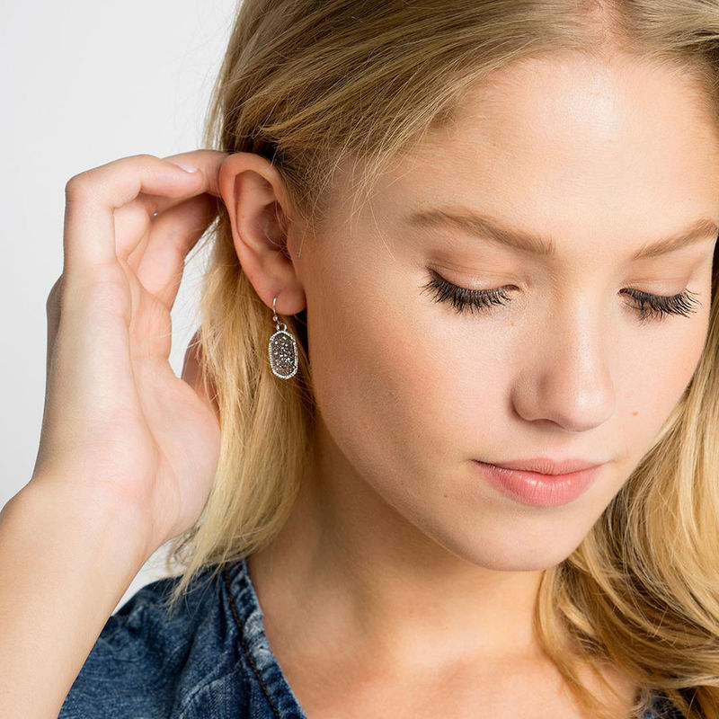 User Generated Content for Kendra Scott Lee Silver Earrings in Platinum Drusy