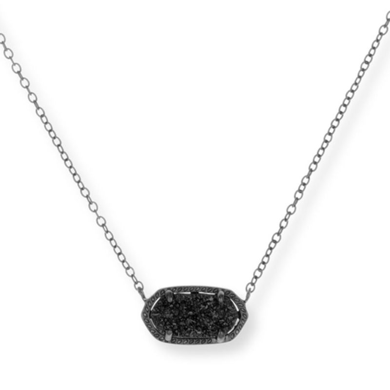 Kendra Scott Elisa Necklace in Black Drusy