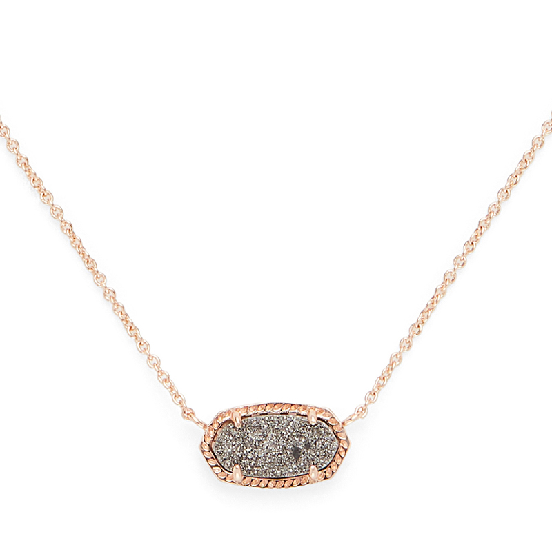 Model Content for Kendra Scott Elisa Necklace in Rose Gold and Platinum Druzy