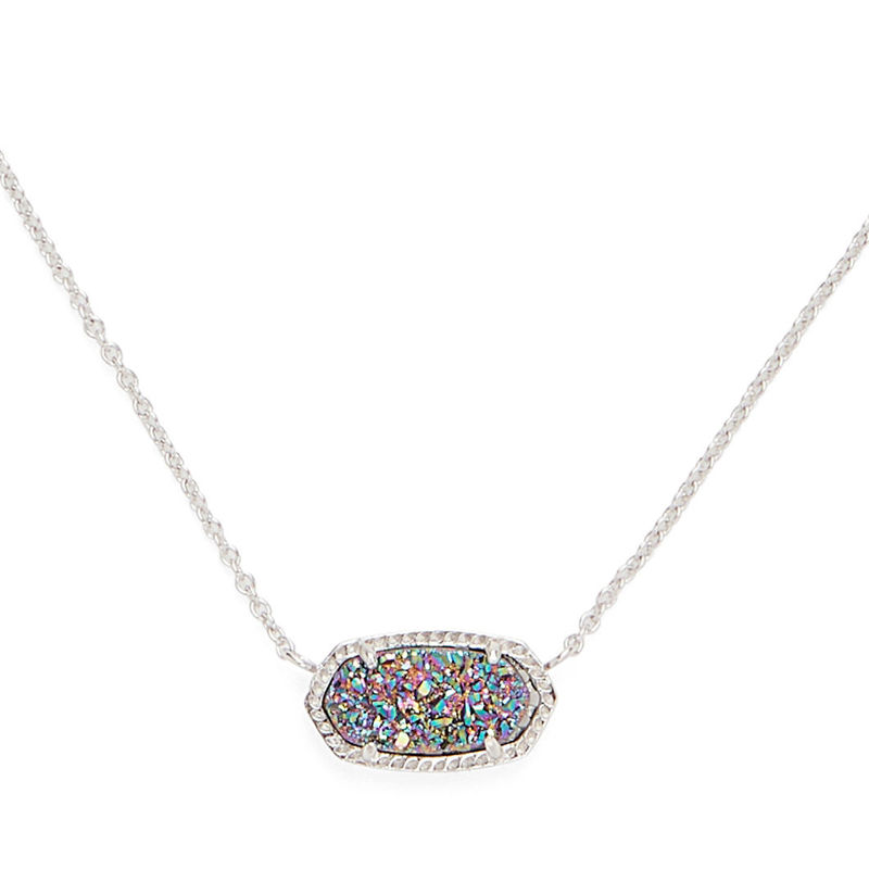 Kendra Scott Elisa Necklace in Rhodium and Multi Druzy
