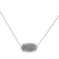 Model Content for Kendra Scott Elisa Necklace in Rhodium and Multi Druzy