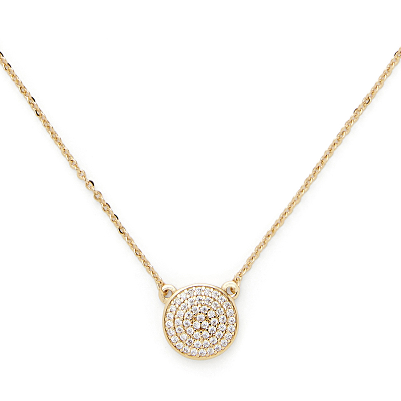 Sophie Harper Pavé Disc Necklace in Gold