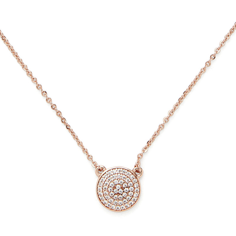 Sophie Harper Pavé Disc Necklace in Rose Gold