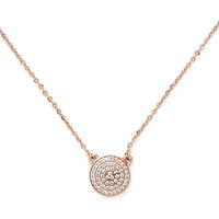 Model Content for Sophie Harper Pavé Disc Necklace in Rose Gold