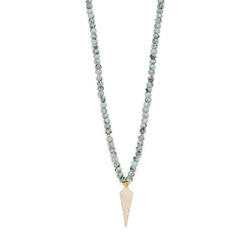 Nakamol Long Necklace with Granite Beads and Pave Diamond Pendant