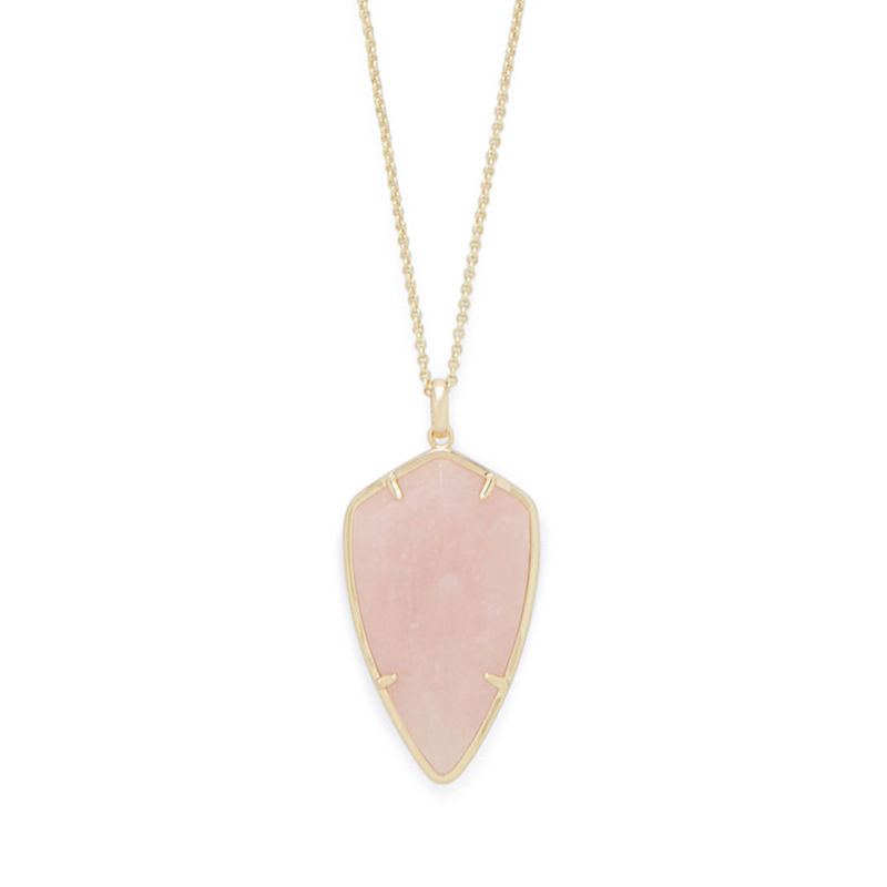 Ava Rose Camden Necklace in Gold and Rose Quartz