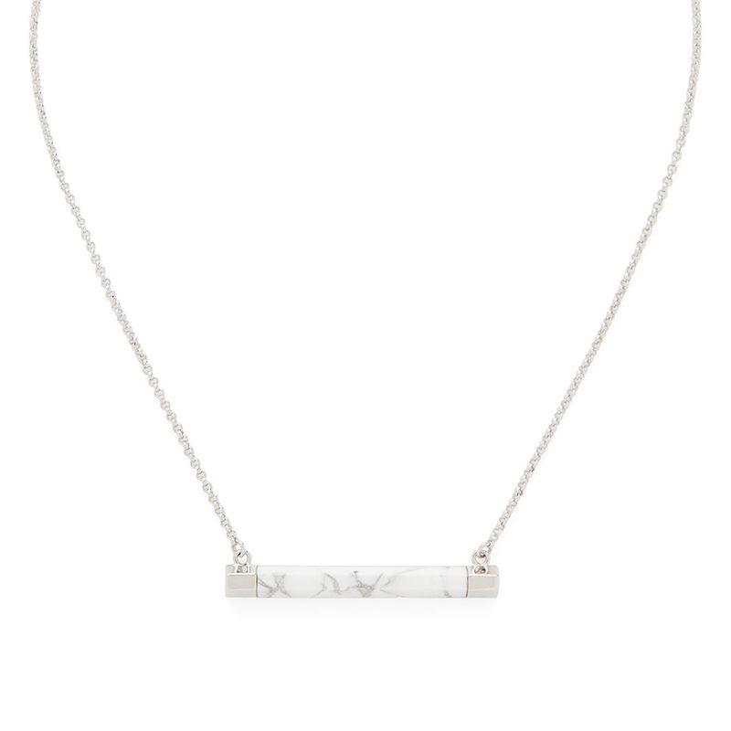 SLATE Sal Bar Pendant in Silver & White Howlite
