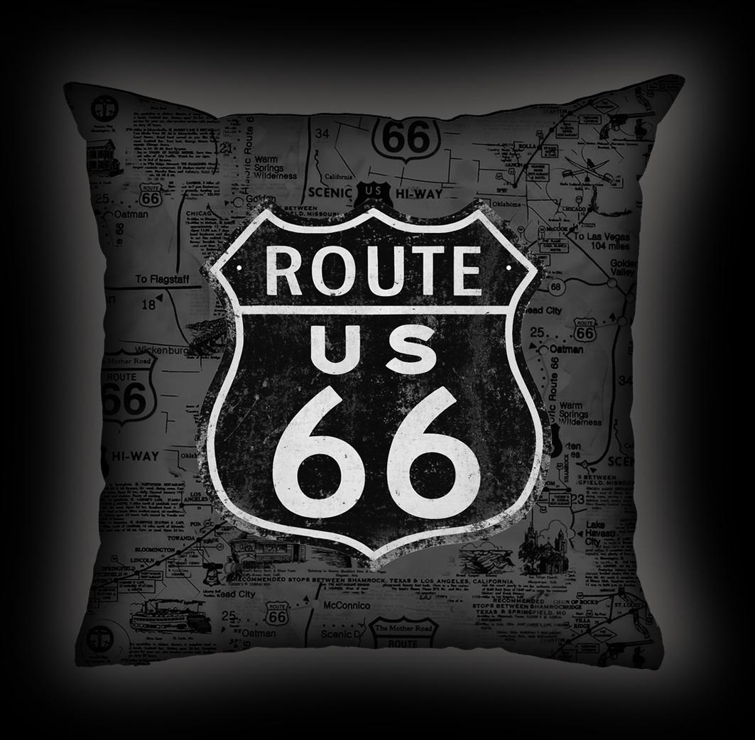 Almofada Rock Use - Route 66 - Cinza