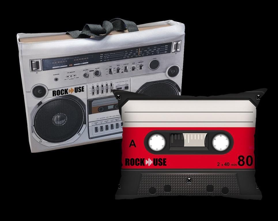Kit Almofada & Sacola - Fita Cassete - Vermelha
