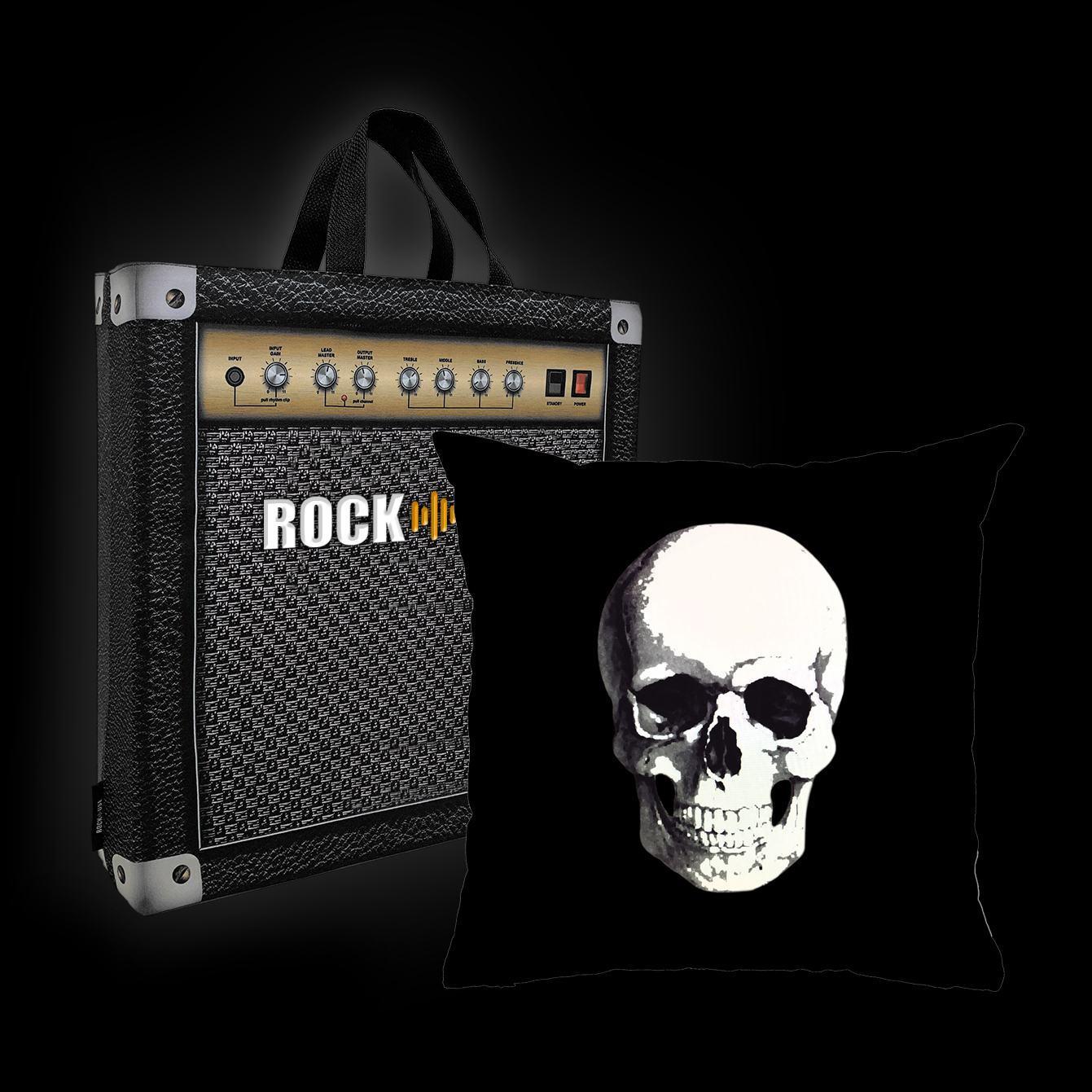 Kit Almofada & Sacola Rock Use - Caveira - Preta