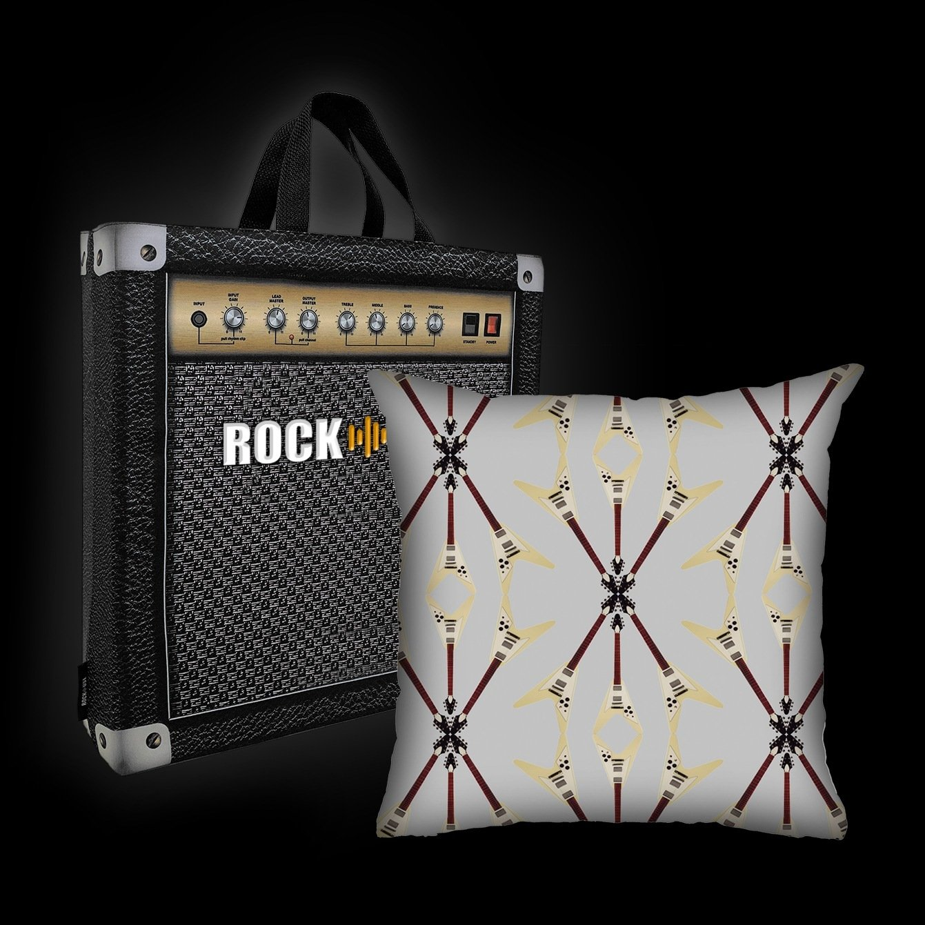 Kit Almofada & Sacola Rock Use - Flying V - Cinza