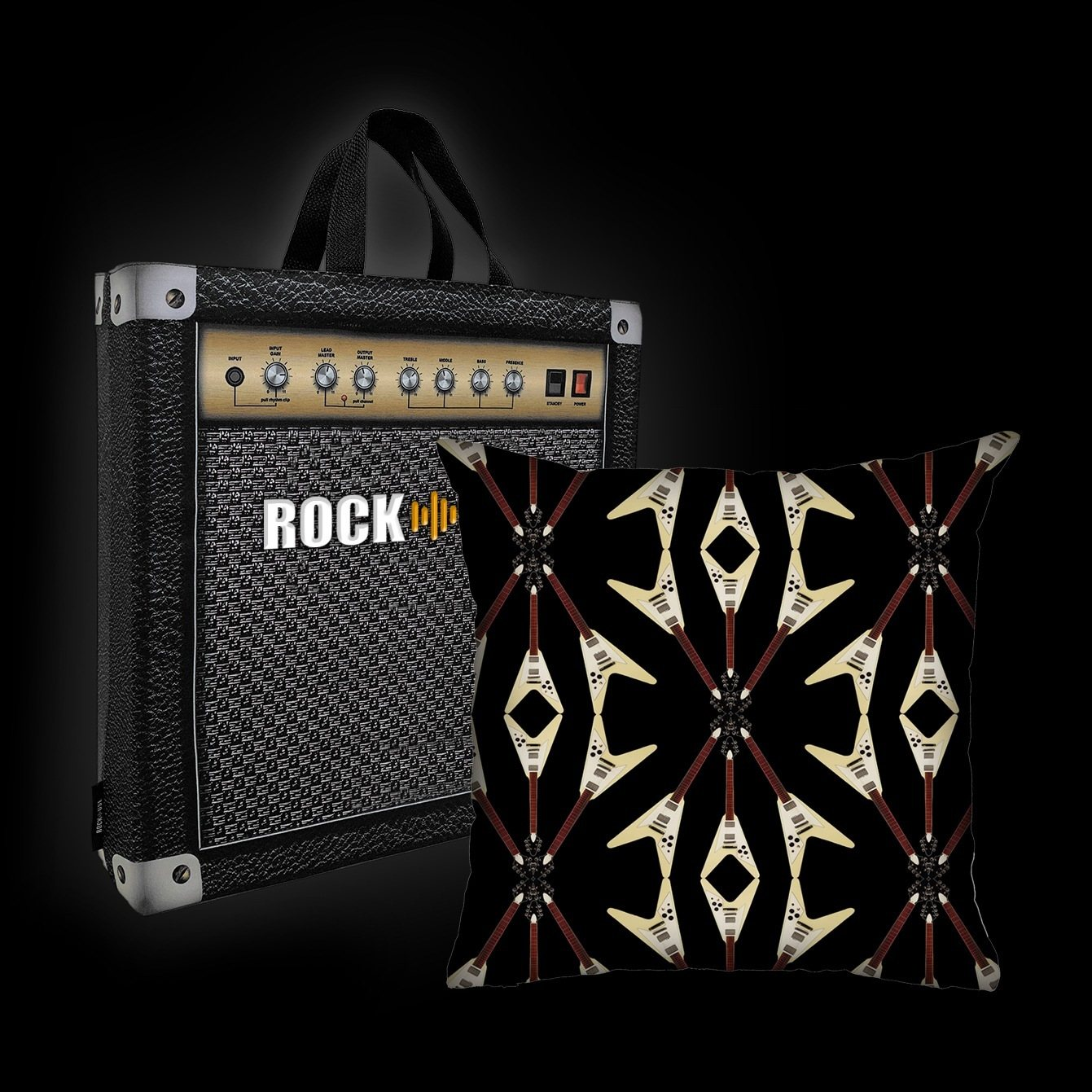 Kit Almofada & Sacola Rock Use - Flying V - Preta