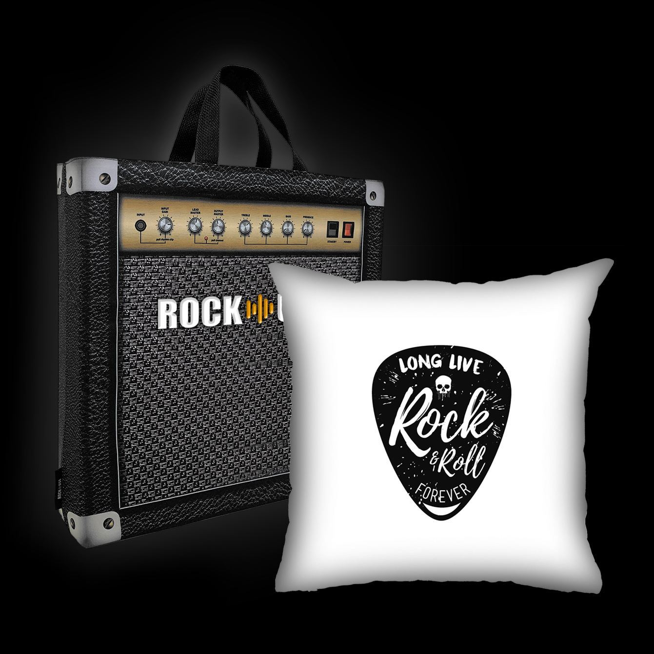 Kit Almofada & Sacola Rock Use - Long Live Rock & Roll - Branca