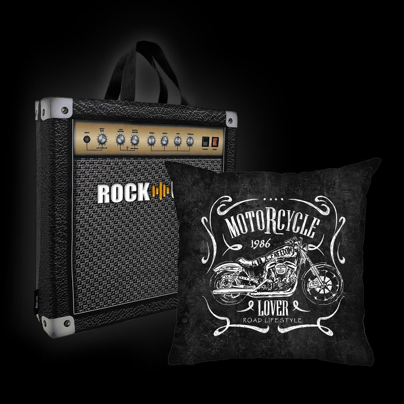 Kit Almofada & Sacola Rock Use - Road Lifestyle