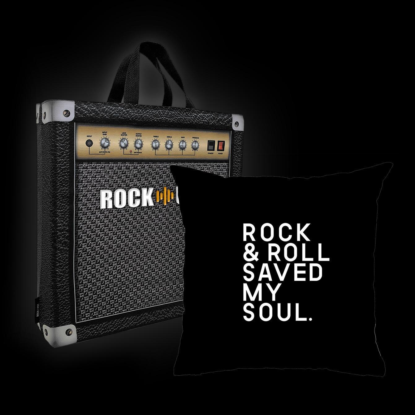 Kit Almofada & Sacola Rock Use - Rock & Roll Saved My Soul - Preta