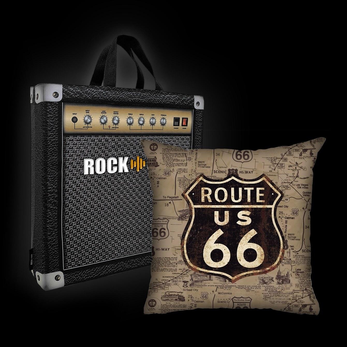 Kit Almofada & Sacola Rock Use - Route 66 - Sépia