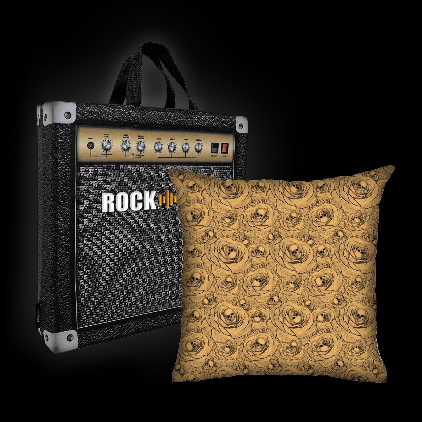 Kit Almofada & Sacola Rock Use - Skull & Roses - Bege