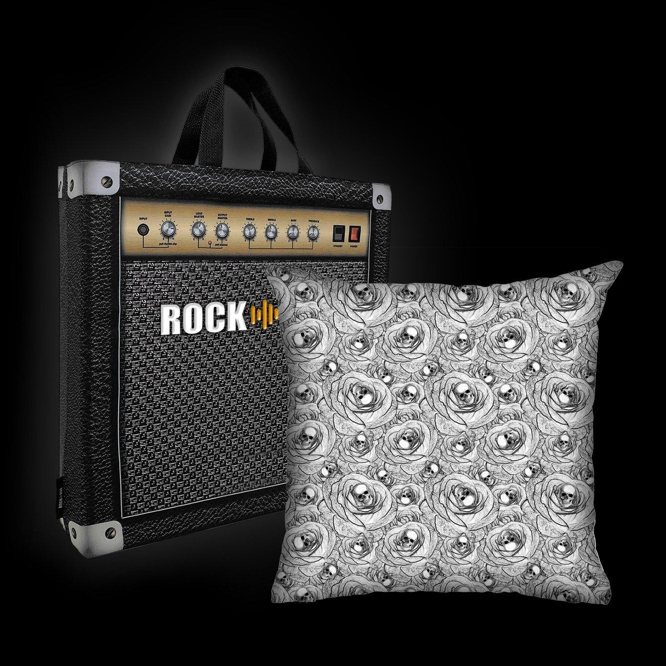 Kit Almofada & Sacola Rock Use - Skull & Roses - Branca