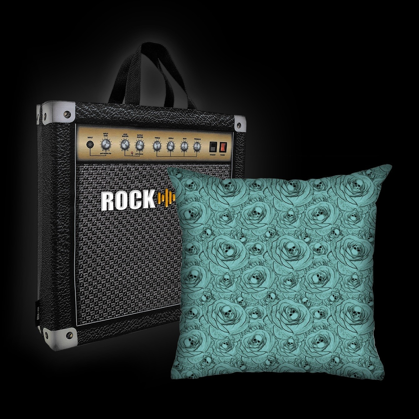 Kit Almofada & Sacola Rock Use - Skull & Roses - Tiffany