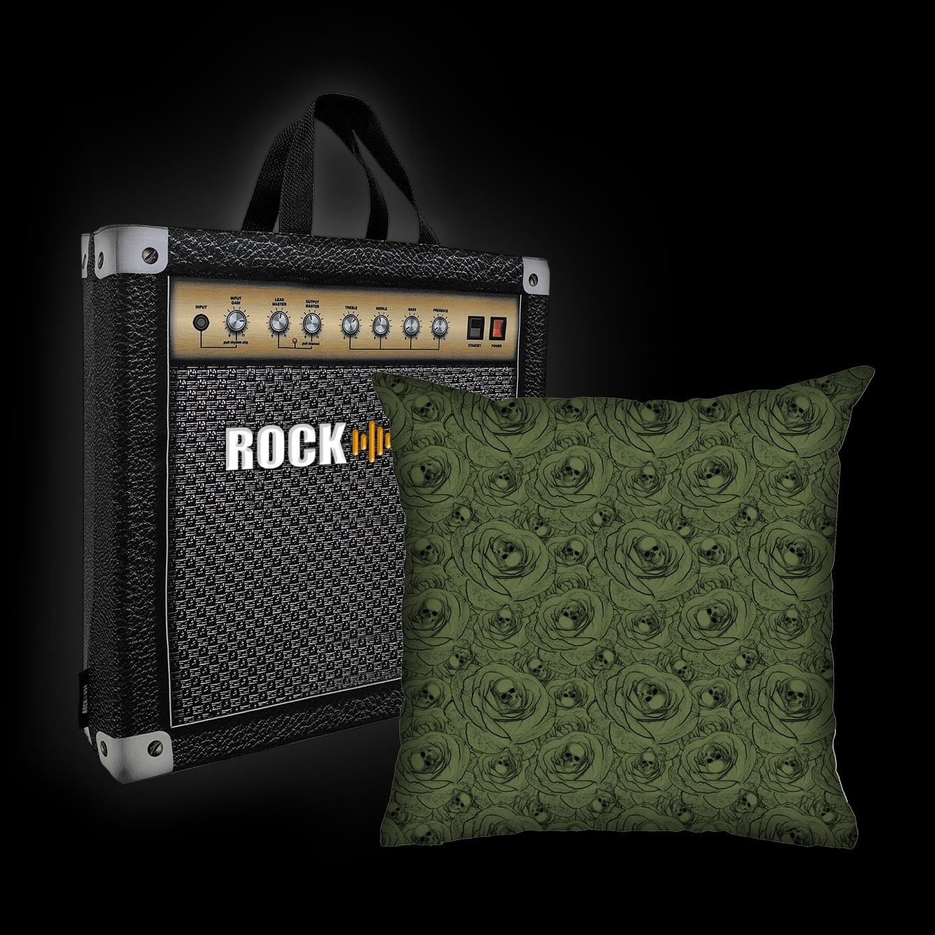 Kit Almofada & Sacola Rock Use - Skull & Roses - Verde