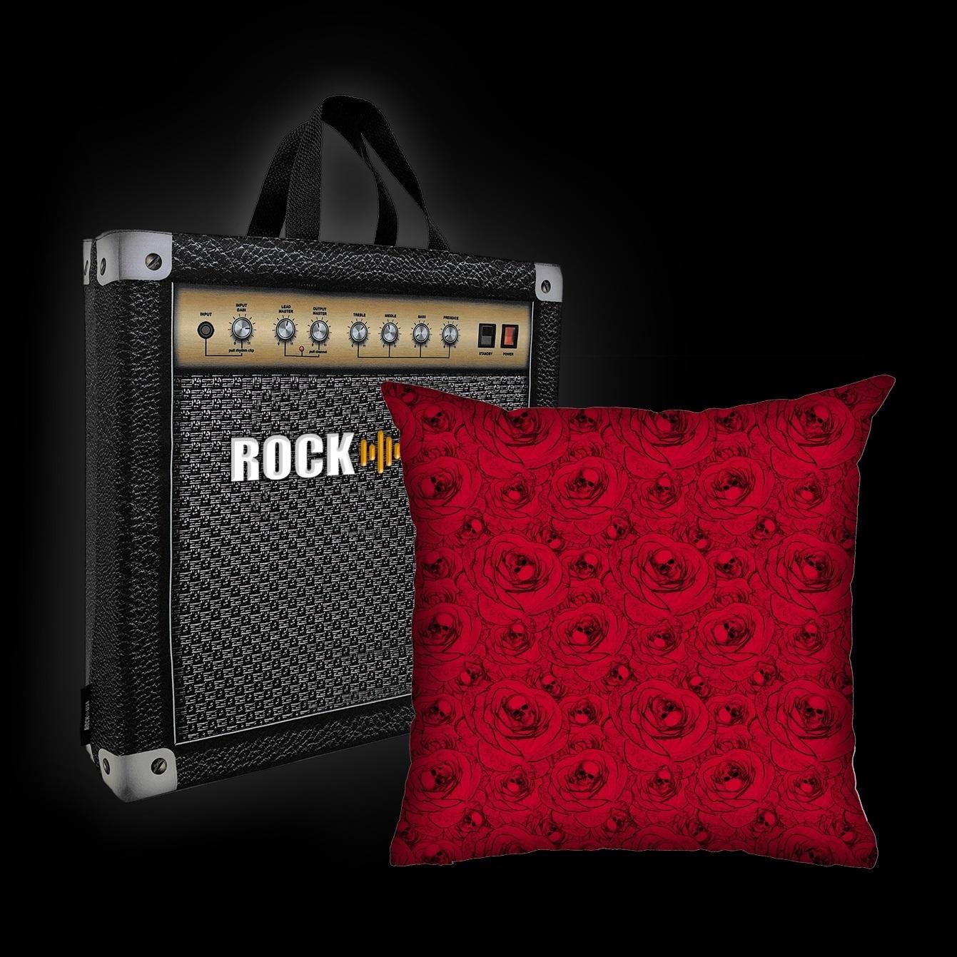 Kit Almofada & Sacola Rock Use - Skull & Roses - Vermelha