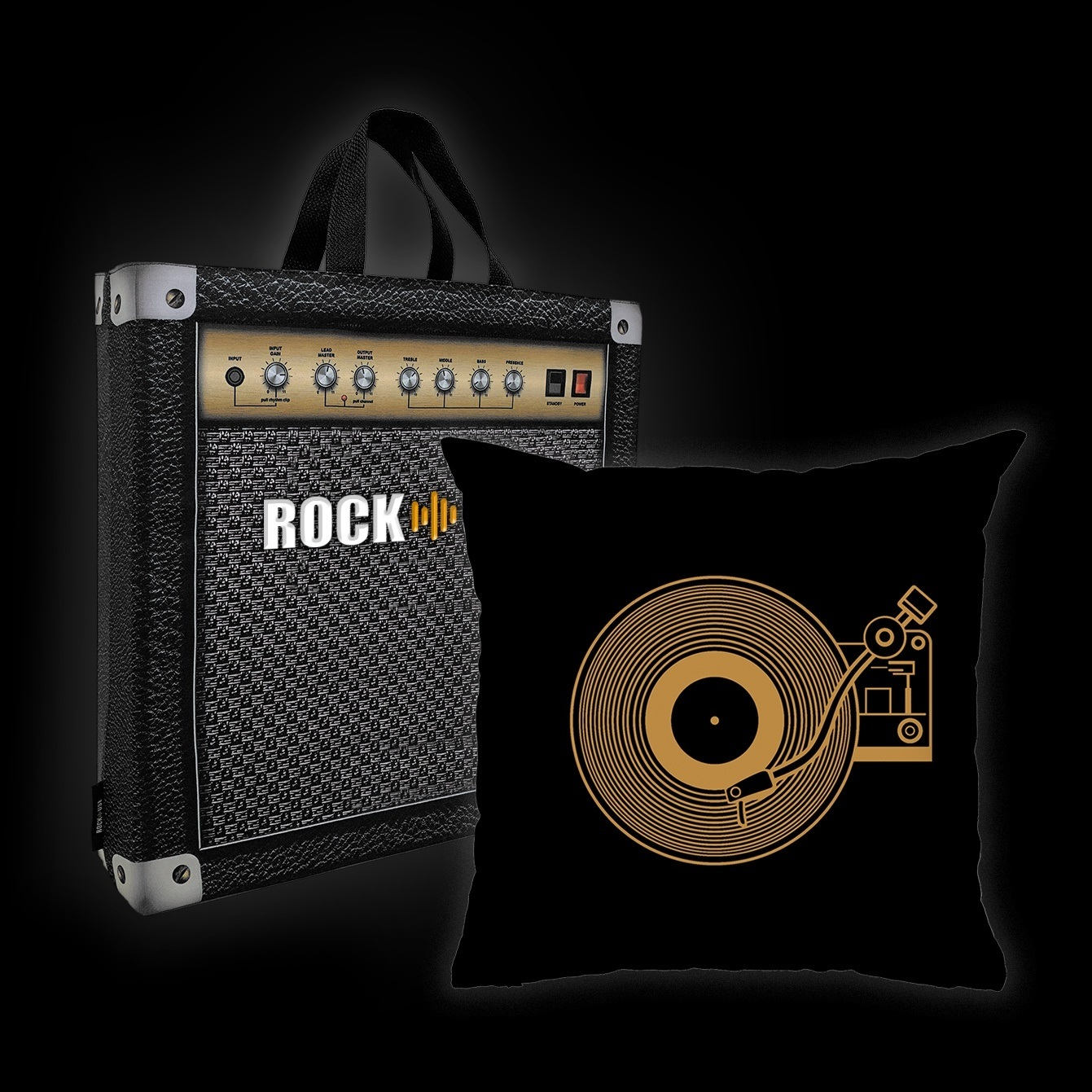 Kit Almofada & Sacola Rock Use - Vitrola