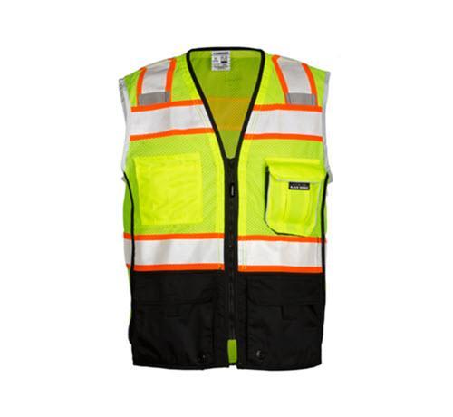 Kishigo Premium Black Series Black Bottom Vest / Lime - Large