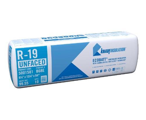 R19 6 1/4 in x 15 1/4 in x 94 in Knauf EcoBatt Unfaced Insulation