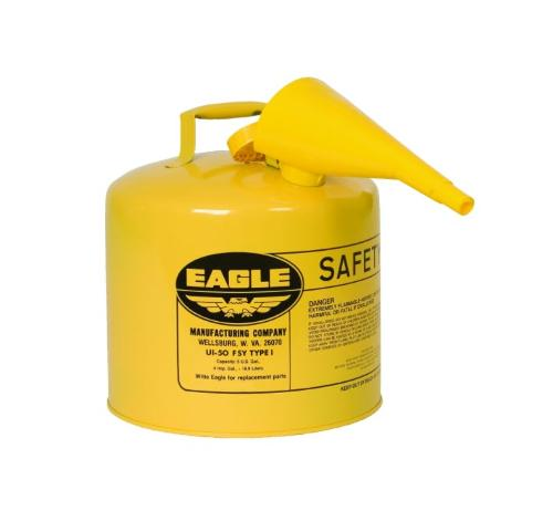 Eagle Type I Steel Safety Can for Diesel w/ Funnel and Flame Arrester / Yellow - 5 Gallon