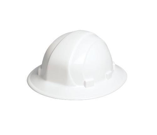 ERB Omega II Full Brim Hard Hat w/ 6-Point Slide-Lock Suspension - White